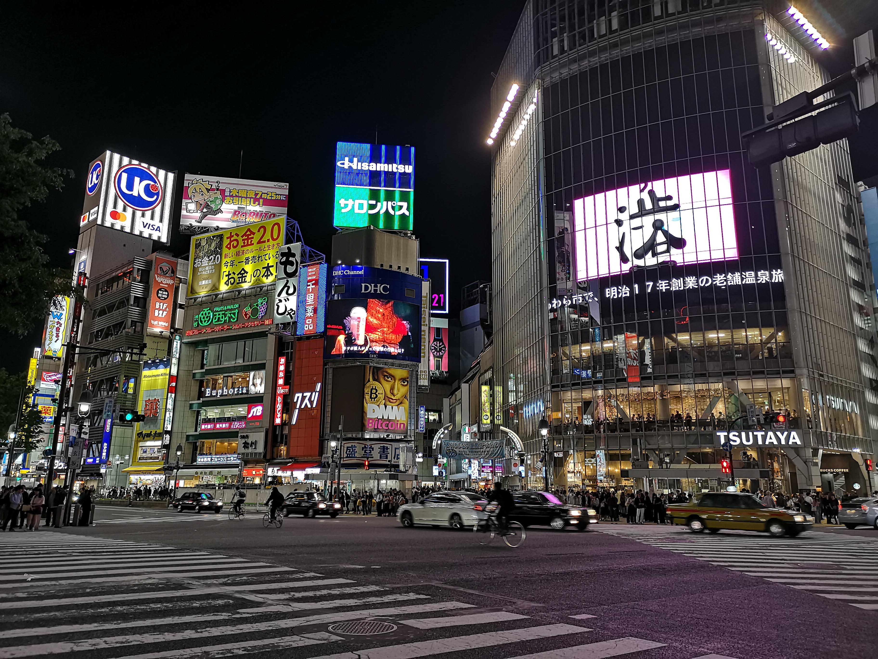 HUAWEI P20 Pro 作例 レビュー Night Mode機能 渋谷